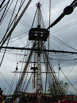 Mature, Mast, Hermione, Shrouds, Ropes, Pulleys, Boat