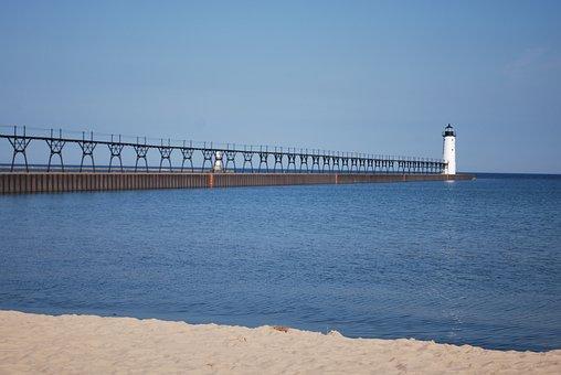 Lighthouse, Shore, Lake, Beach, Pier, Lake Michigan