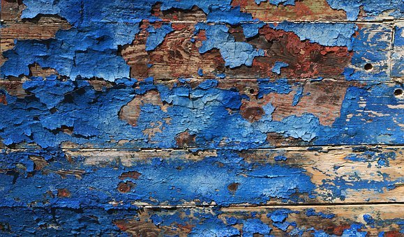 Texture, Background, Blue, Red, Wood, Peeling Paint