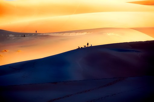 Great Sand Dunes, National Park, Silhouettes, Tourism