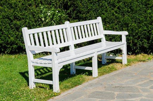 Bench, Park, Garden, White, Background, Landscape