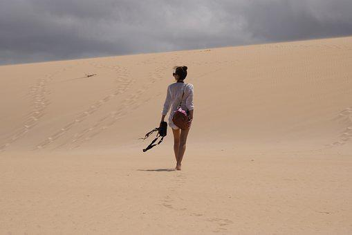 Sultriness, Desert, Summer, Girl, Sky, Clouds, Nature
