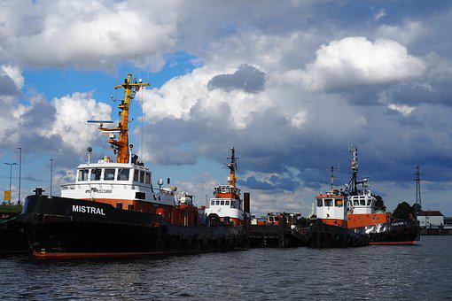 Tug, Ships, Port, Hamburg, Elbe, Boot, Industriehafen