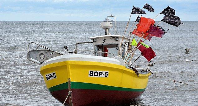 Boat, Fishing, Sea, Baltic, Ocean, Fishing Boat, Flags