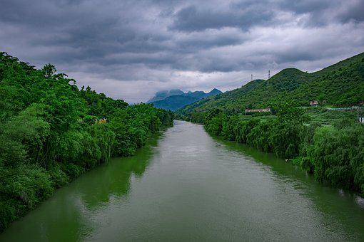 China, Guizhou, Off Ridge, Wood City River