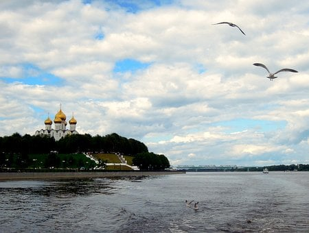 Assumption, Cathedral, River, Beach, Volga, Gulls