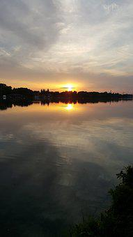 Lake Maschsee, Hanover, Sunset, Mirroring, Water, Sky