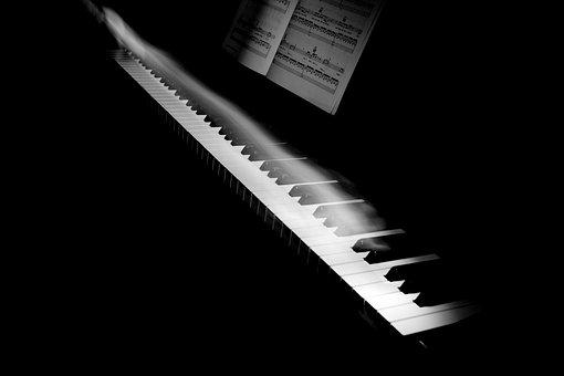 Music, Instrument, Piano, Keys, Motion, Smoke, Notes