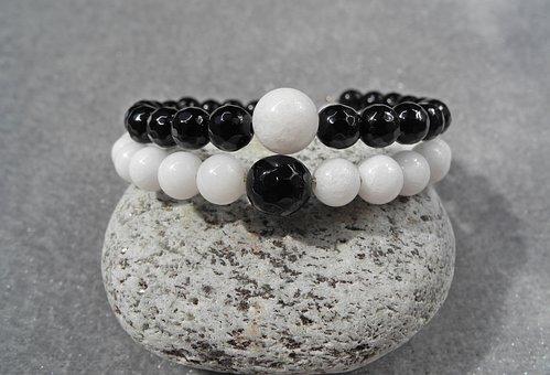 Bracelet, Jin Jang, Yin-yang, Mineral, Onyx, Quartz