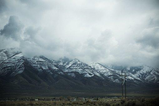 Nature, Landscape, Mountains, Slope, Snow, Clouds, Sky