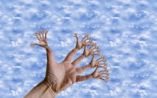 Fantasy, Hand, Medusa's Hand, Photo Montage, Clouds