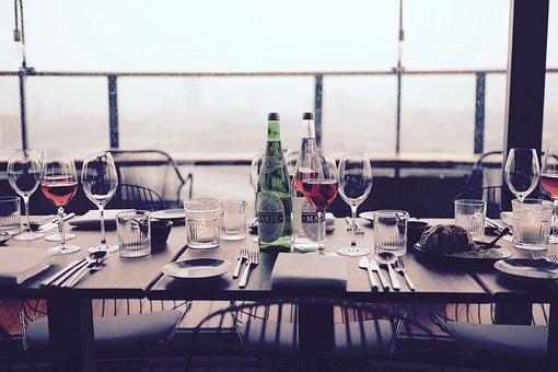 Eat, Food, Fine, Dining, Wine, Bottles, Glasses, Plates