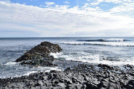 Ocean, Sky, Rocks, Breaking, Waves, Blue, Coast, Sea