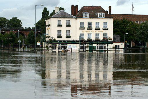 Floods, Pub, Riverside, Town, Water