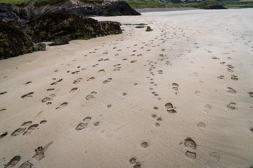 Sand, Traces, Beach, Footprint, Footprints, Sand Beach