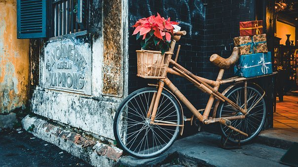Transportation, Bicycle, Wood, Bamboo, Flowers, Gifts