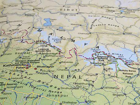 Map, Himalaya, Tibet, Geography, Travel, Nepal, Everest