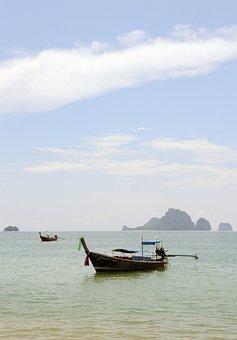Thailand, Boats, Shore, Sea, Krabi, Nature, Sky, Water