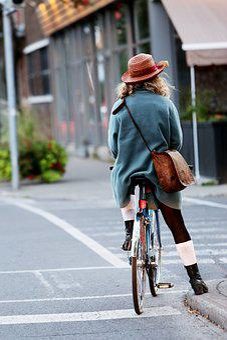 Girl, Woman, Cyclist, Bike, Bicycle, Street, Road
