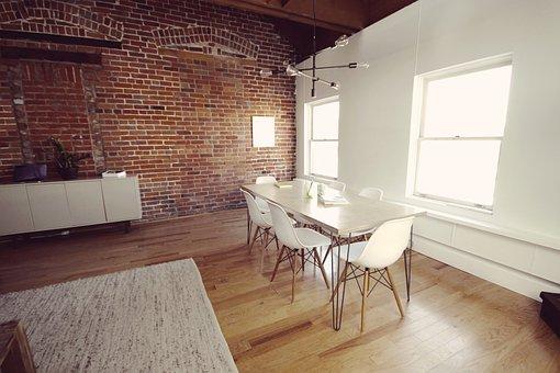 Office, Desk, Table, Chairs, Hardwood, Bricks, Business