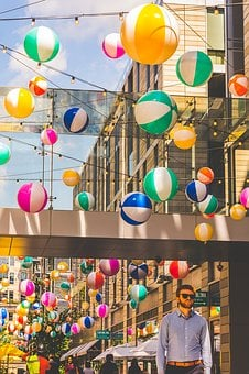 Balloons, City, Downtown, Celebration, Street, Summer