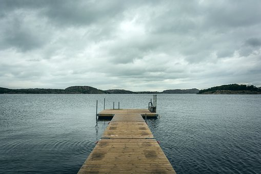 Dock, Lake, Cottage, Water, Sky, Clouds, Cloudy, Storm