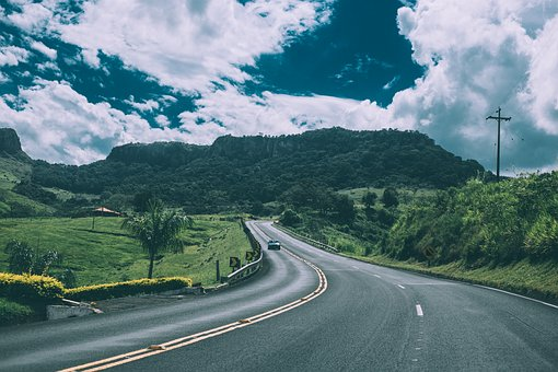 Road, Highway, Cars, Driving, Green, Grass, Fields