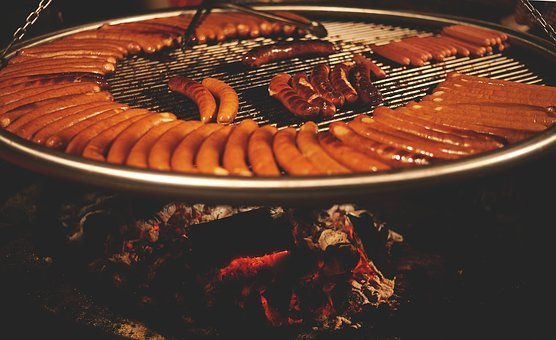 Hot Dogs, Sausages, Barbecue, Grill, Food, Fire, Wood