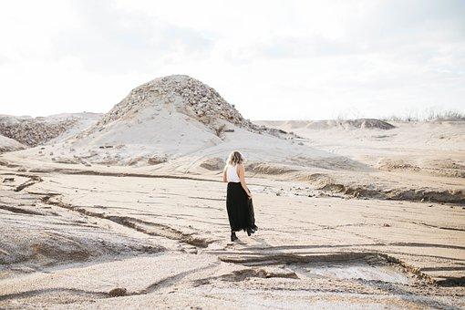 Woman, Girl, Lady, People, Walk, Walking, Dirt, Road