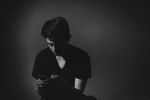 Guy, Man, Texting, People, Black And White, Mobile