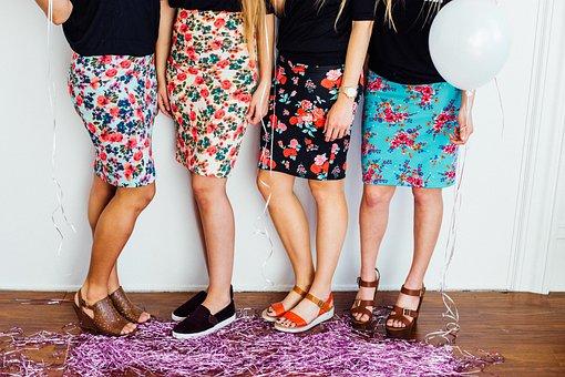 Girls, Women, People, Skirts, Shoes, Heels, Fashion