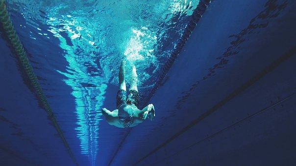 Swimming, Diving, Water, Blue, Pool, Underwater