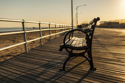 Bench, Boardwalk, Wood, Beach, Sand, Ocean, Sea, Sunset