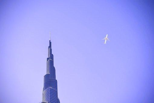 Purple, Sky, Airplane, Flying, Transportation, Building