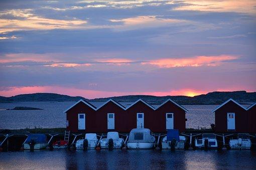 Sea, Fishing Huts, Himmel, Summer, Boats, Port, Sunset