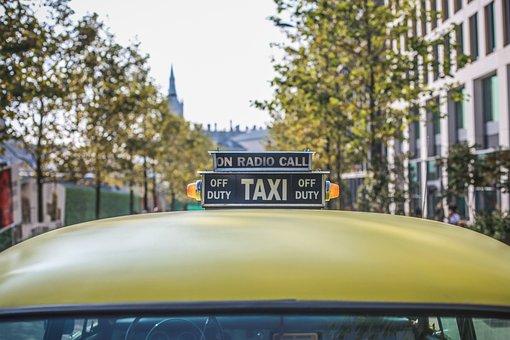 Taxi, Cab, Car, Vehicle, Sign, City
