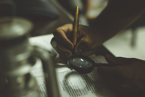 Writing, Book, Reading, Magnifying Glass, Pen, Business