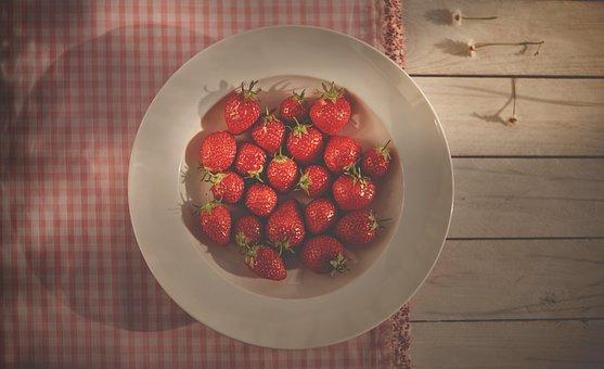 Strawberries, Fruits, Plate, Bowl, Healthy, Food