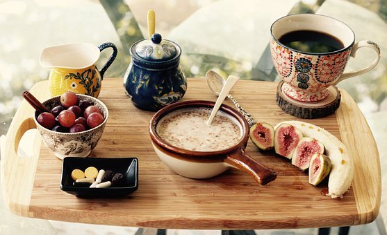 Breakfast, Grapes, Banana, Fruits, Coffee, Cup, Bowl