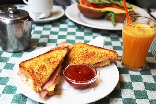 Sandwich, Breakfast, Food, Orange Juice