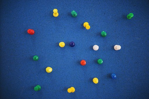Blue, Cork Board, Bulletin Board, Pins, Thumbtacks