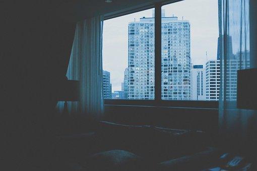Hotel, Bedroom, Window, Curtains, City, Urban, Condos