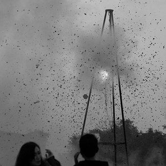 Explosion, Fire, Smoke, Debris, People, Gray Fire