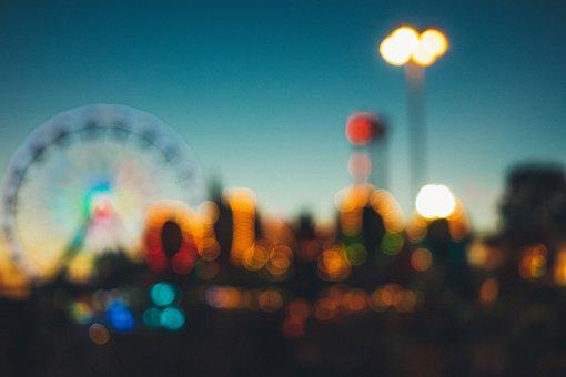 Amusement Park, Fair, Rides, Fun, Blurry
