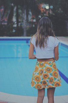Girl, Woman, Skirt, Fashion, Model, Swimming Pool