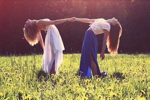 Girls, Friends, Holding Hands, Dress, Fashion