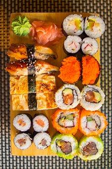 Sushi, Rice, Food, Healthy, Japanese, Wasabi, Ginger