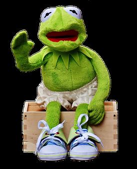 Kermit, Sit, Bank, Sneakers, Pants, Frog, Funny, Wave