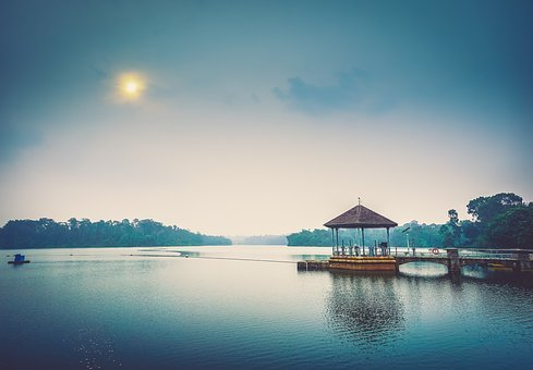 Bridge, Pier, Dock, Gazebo, Lake, Water, Outdoors