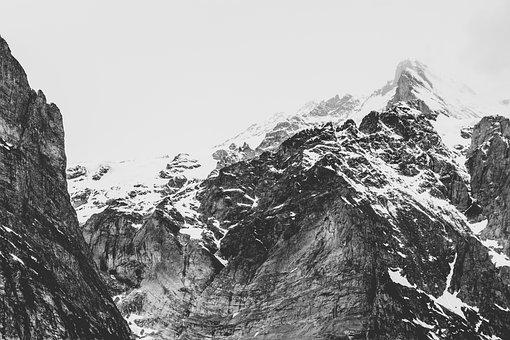 Mountains, Rocks, Cliffs, Snow, Peak, Black And White